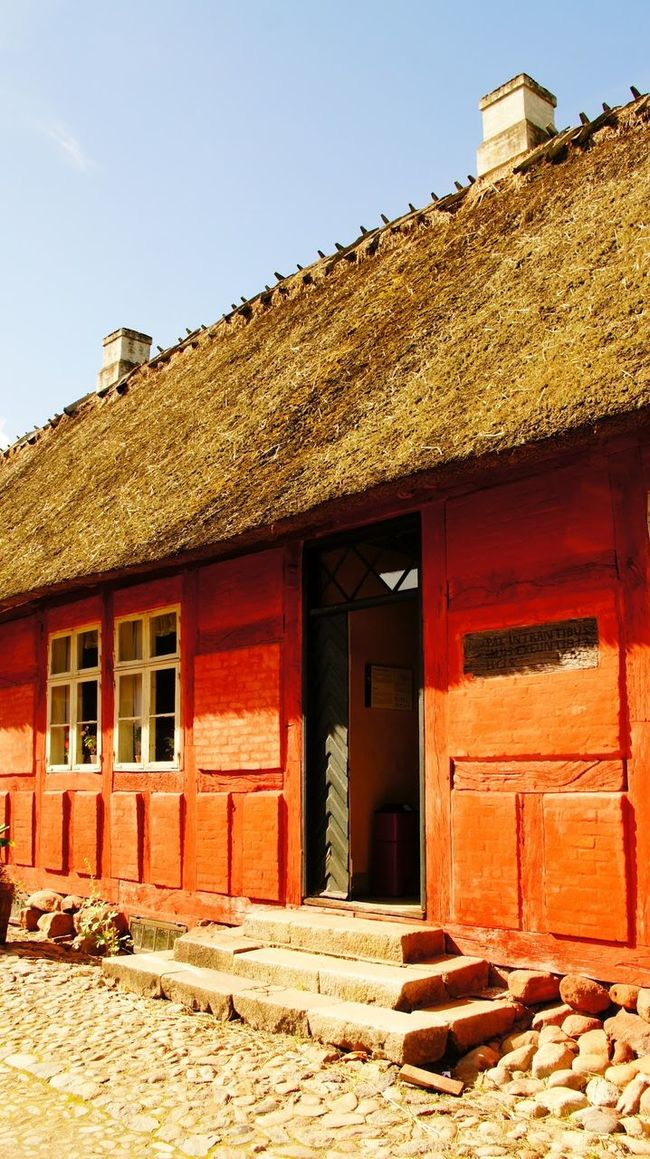 """Farm at """"Den Fynske Landsby"""" in Odense, Denmark Architecture Building Exterior Day Den Fynske Landsby Denamrk Exterior Façade Historical Historical Building History Architecture House Museum No People Old Open Air Museum Outdoors Red Residential Building Residential Structure Roof Sunlight Town Window"""