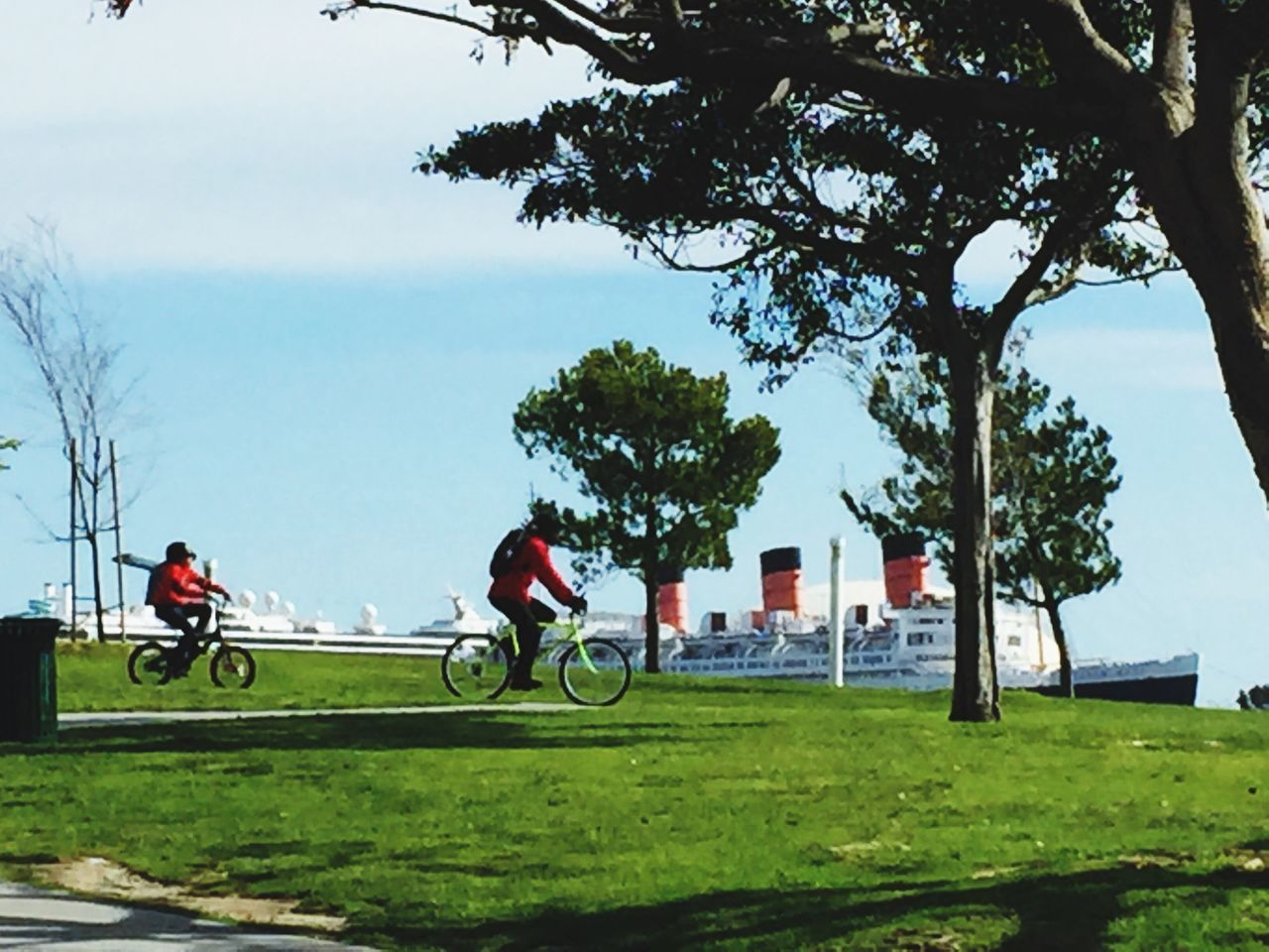 Transportation Bicycling Ships At Dock Park Green Color Land Vehicle Real People Sky Grass Transportation Outdoors