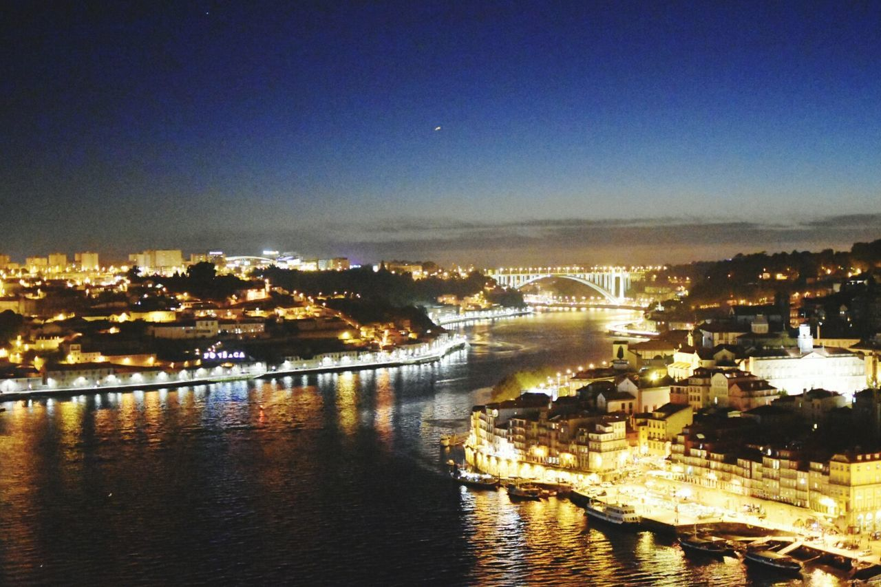 Cityscape Illuminated City Night Architecture Sky Travel Destinations Bridge - Man Made Structure Building Exterior Outdoors Water Harbor Urban Skyline Architecture Porto Portugal Sunset_collection Sky And Clouds Lights And Shadows Douroriver Douro