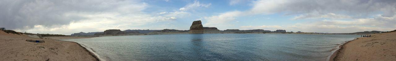 Panoramic Nature Desert Lake Landscape Oasis Lone Rock Island Utah American Southwest