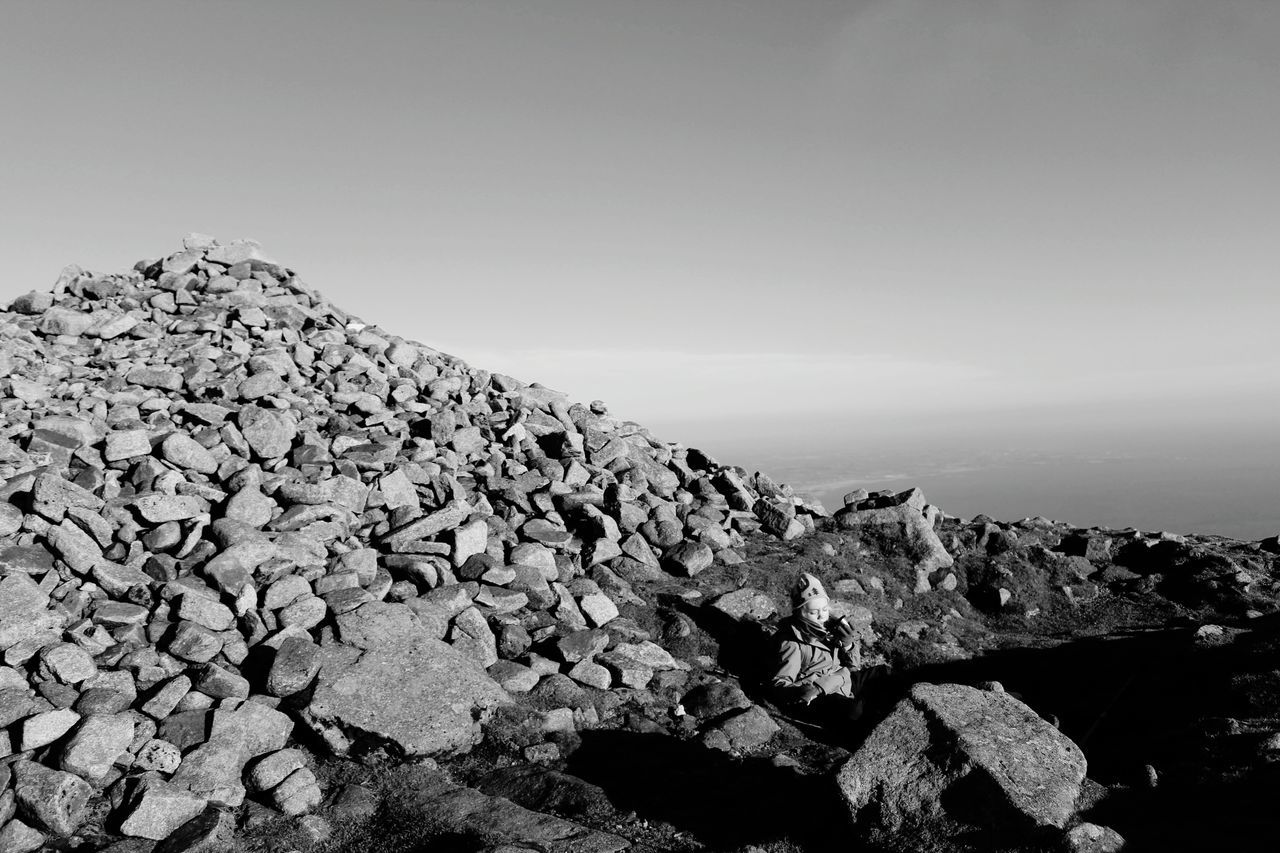 Mountain View Mountaintop Black & White Slievedonard Rocks Cairn Ancient Tomb Landscapes With WhiteWall The KIOMI Collection