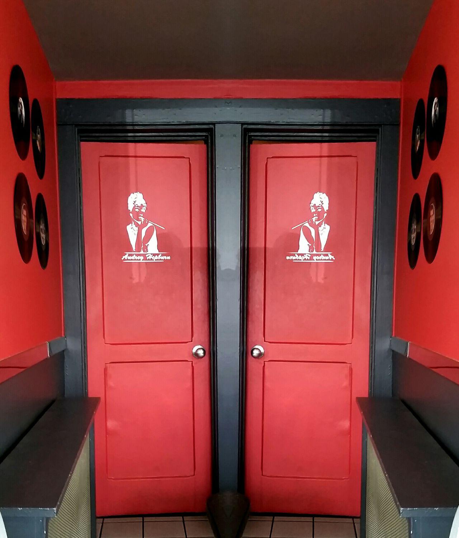 Doors Restrooms Ladies Room Audrey Hepburn Mirror Image LP's