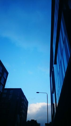 A cool walk home 7pm Reflections Artchitecture Singular Street Lamp and the Blue Sky hello Summertime