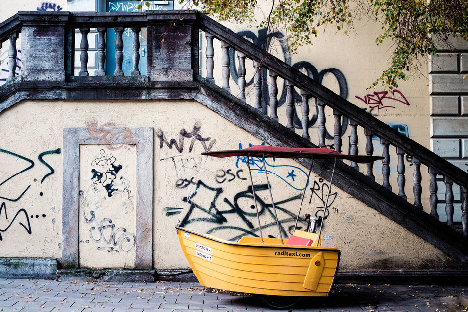 Architecture Bicycle Building Exterior Built Structure Day Munich No People Outdoors Railing Staircase Steps And Staircases Streetphotography Taxi