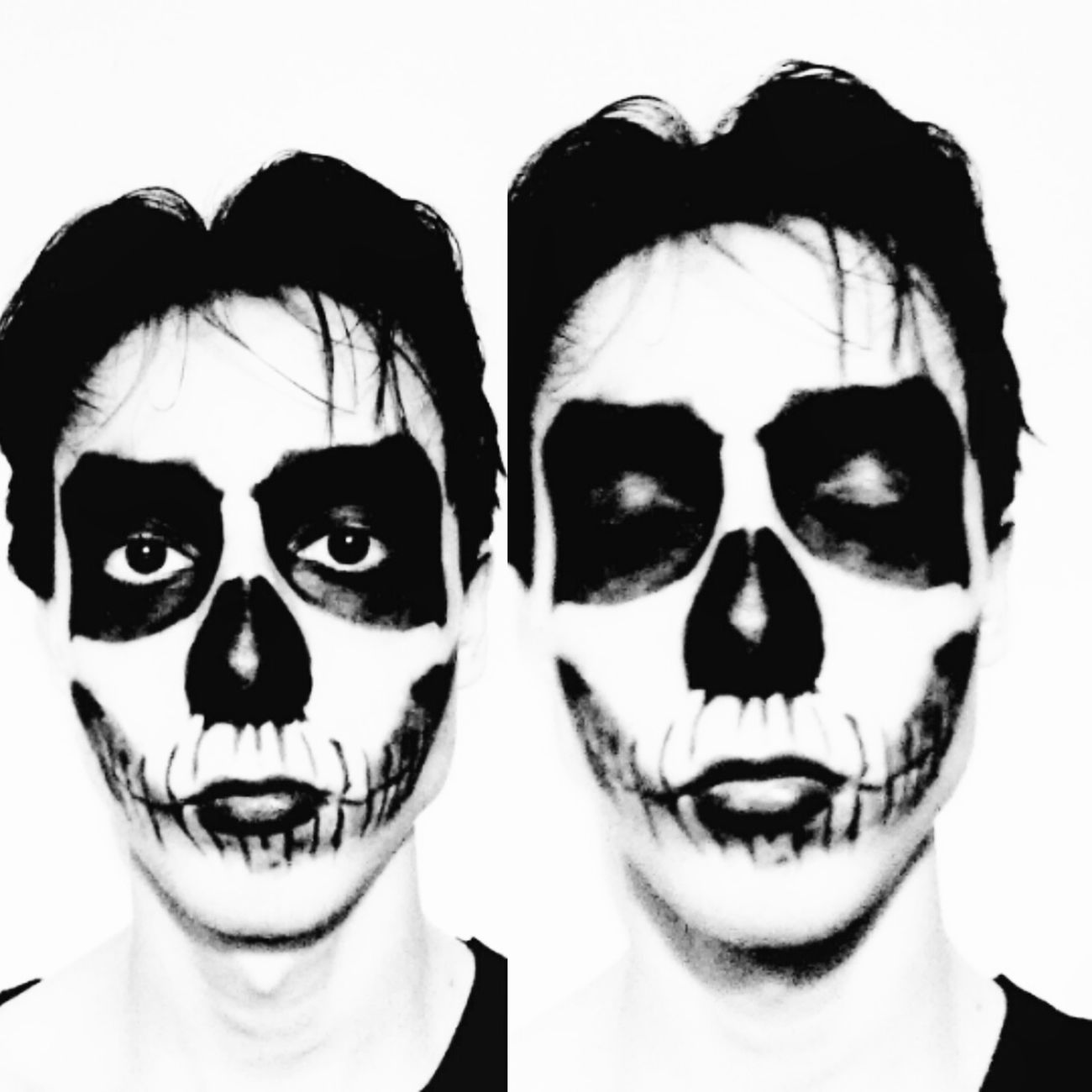 Makeup Skull Makeup Blackandwhite Black Eyes