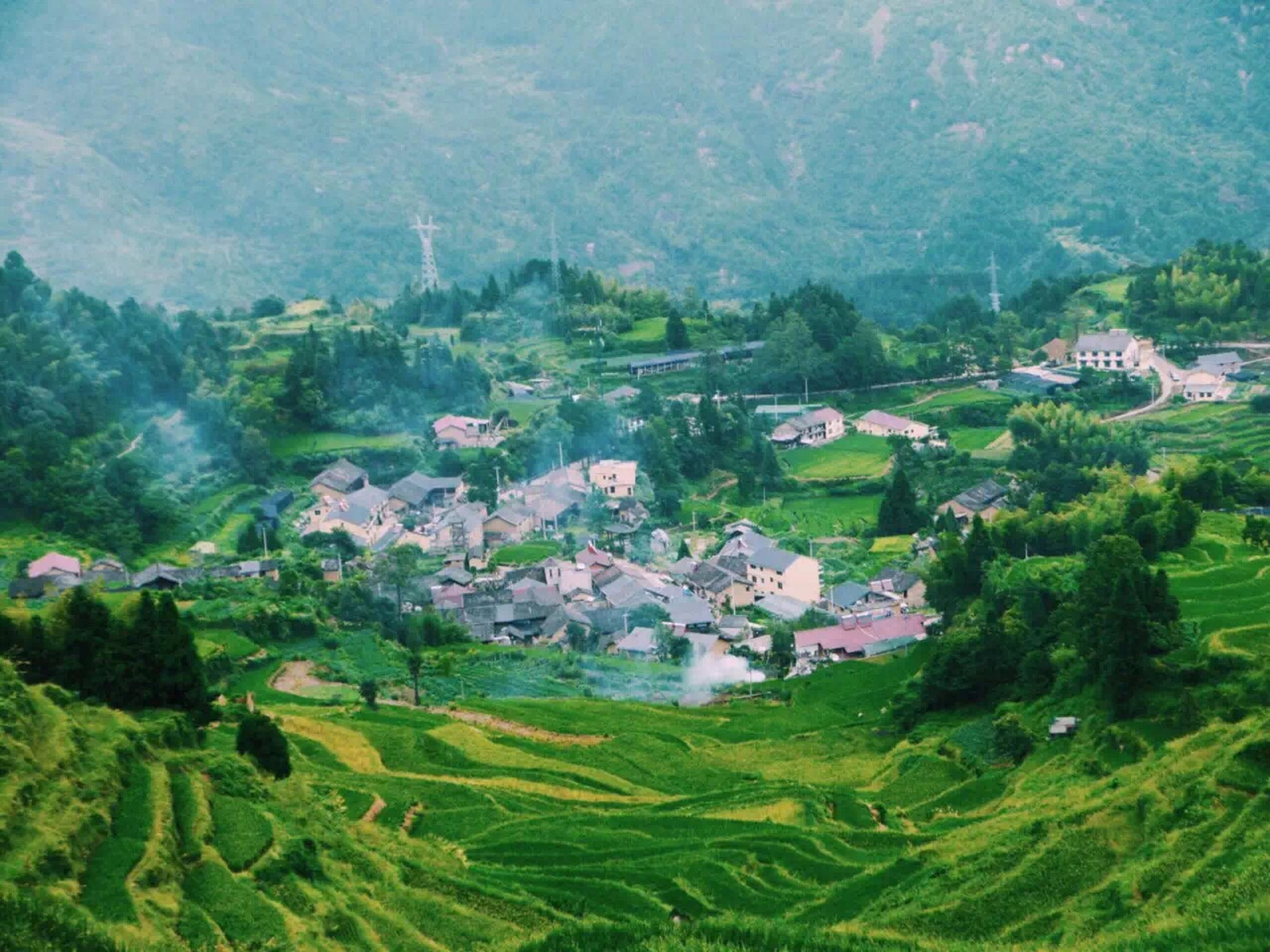 landscape, high angle view, tree, building exterior, green color, mountain, house, architecture, built structure, tranquil scene, scenics, nature, beauty in nature, growth, tranquility, field, aerial view, town, village, rural scene