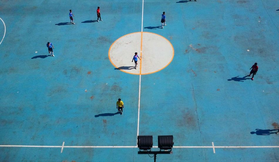 Beautiful stock photos of football, Blue, Day, Field, High Angle View