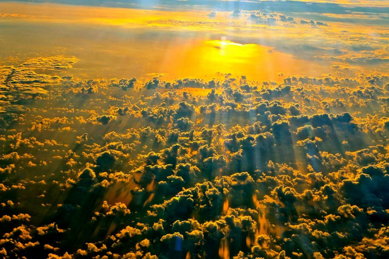 Sunset Yellow Reflection Sky Beauty In Nature Gold Colored Landscape Fantastic View Magicmoment Power Of God Cockpit View B 787 Sky And Clouds Plane View Cloud - Sky Idyllic Airplane Cockpit