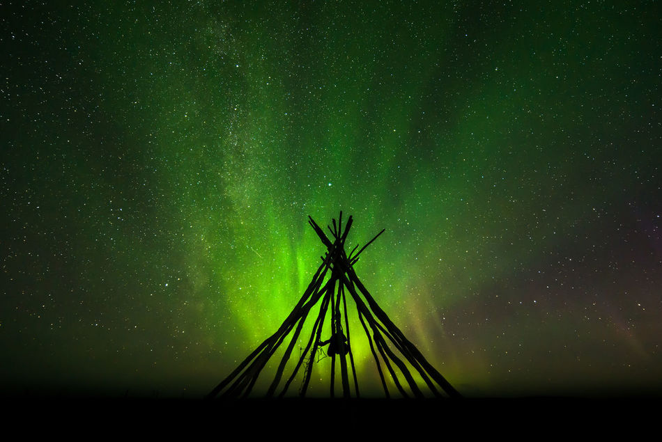 Astronomy Aurora Borealis Aurora Borealis Norway Europe Finnmark Finnmarksvidda Galaxy Green Color Lavvu Milky Way Nature Night No People Nordlys Norge Northern Lights Norway Outdoors Sapmi Silhouette Skeleton Sky Star - Space Tipi