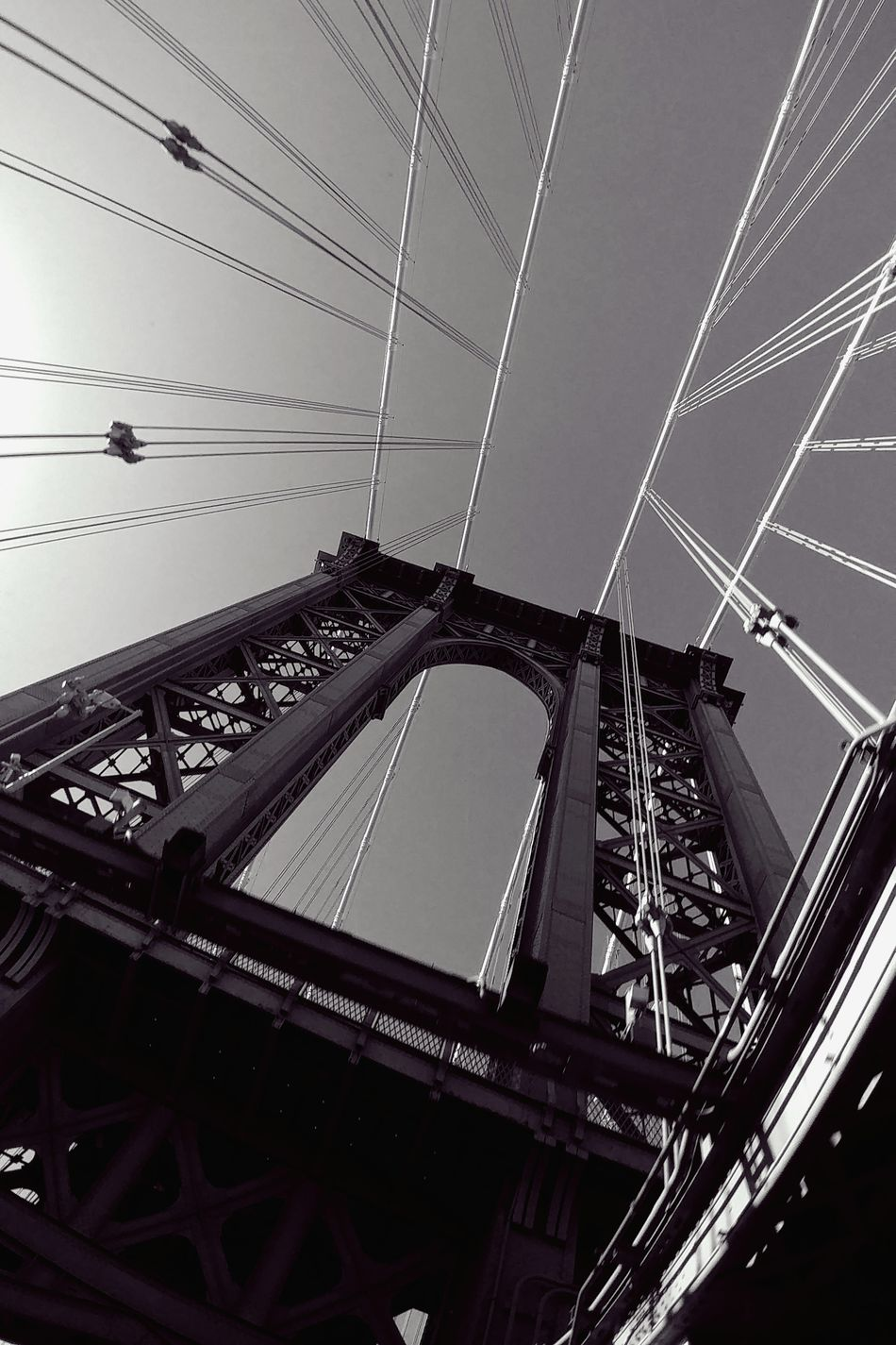 Low Angle View Cable Built Structure No People Technology Outdoors Sky Architecture Day Manhattanbridge Drivebyphotography City Life AndroidPhotography Architecture Suspension Bridge Travel Destinations Bridge Photography Nyphotographer NYC NYC Photography