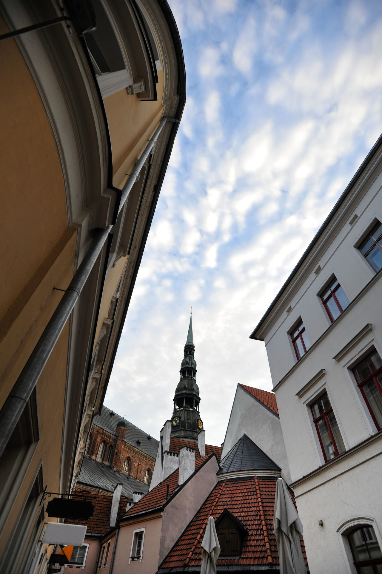 Konventa Seta in Riga, Latvia Architecture Building Exterior Church City Famous Place High Section Konventa Sēta Low Angle View Mediaeval Old Old Buildings Old House Old Town Outdoors Residential Building Residential Structure Riga Tourism Travel Destinations Travelling Vecriga