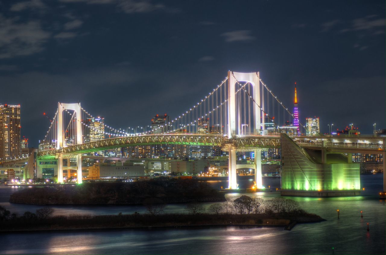 Minimalist Architecture EyeEmNewHere The City Light Architecture Bridge - Man Made Structure Illuminated Waterfront Suspension Bridge Night Lights Cityscape Tokyo Night