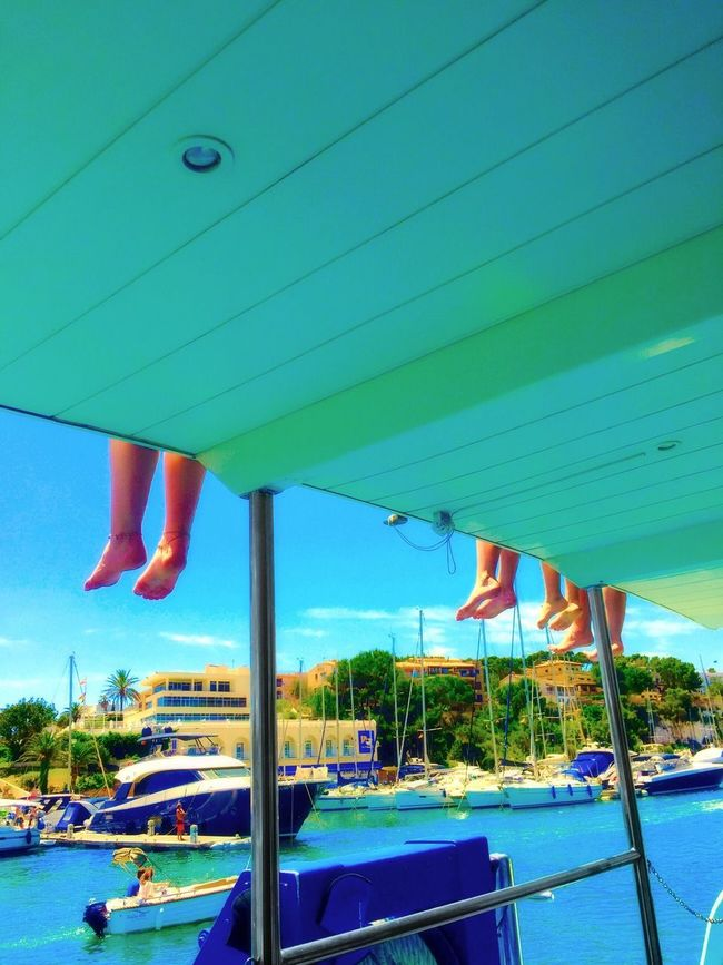 On Deck Boat Decks Boats Harbour Harbour View Bare Feet Feet Dangling Holiday Sunny Day Mallorca Vacation Time Boat Trip Water Sea People Ocean Scenic View Summertime Feel The Journey Vacation Aboard Summer Boat Holidays People On Holiday
