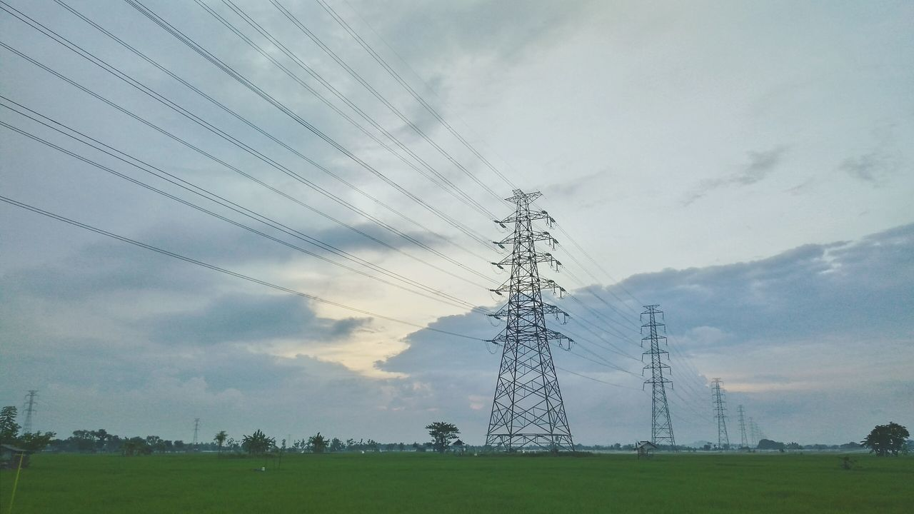 cable, electricity pylon, electricity, cloud - sky, sky, connection, power supply, power line, fuel and power generation, electricity tower, field, low angle view, landscape, day, technology, no people, nature, grass, outdoors