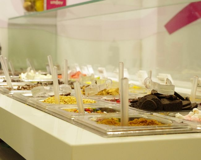 Toppings Ice Cream Frozen Yogurt Oreos Marshmellows  Smarties Sweeties Goodies Chocolate Chip Shop Modern EyeEm Best Shots Taking A Break Lots To Choose What's Your Favourite Behind The Counter Pentax Tadaa Community