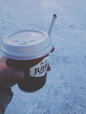 ☕️? IPhoneography Taking Photos Coffee Cigarettes Made My Day Snow Winter Coffee And Cigarettes Cold