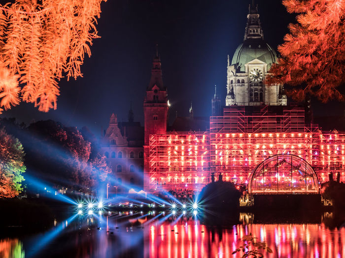 Hannover Rathaus Night Lights Night Photography Nightphotography Oper Reflection Illuminated Night Nightlife Open Air Reflection_collection Reflections Rigoletto Celebration Your Ticket To Europe Done That. An Eye For Travel