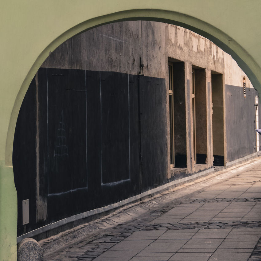 Alley Arch Architecture Architecture_collection Archway Back Streets City Street Doors Eastern European Green Grey Old Roads Pavement Paving Stone Pedestrian Poland Polish Rounded Seclusion Secret Street Three Urban Walking Walkway