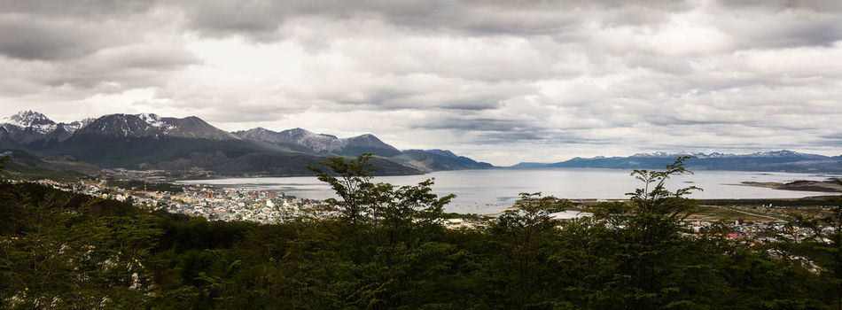 Beagle channel and Ushuaia (Argentina) Aerial Argentina Beagle Channel Cloudy Land Of Fire Patagonia Sea Southernmost Tierra Del Fuego Ushuaïa