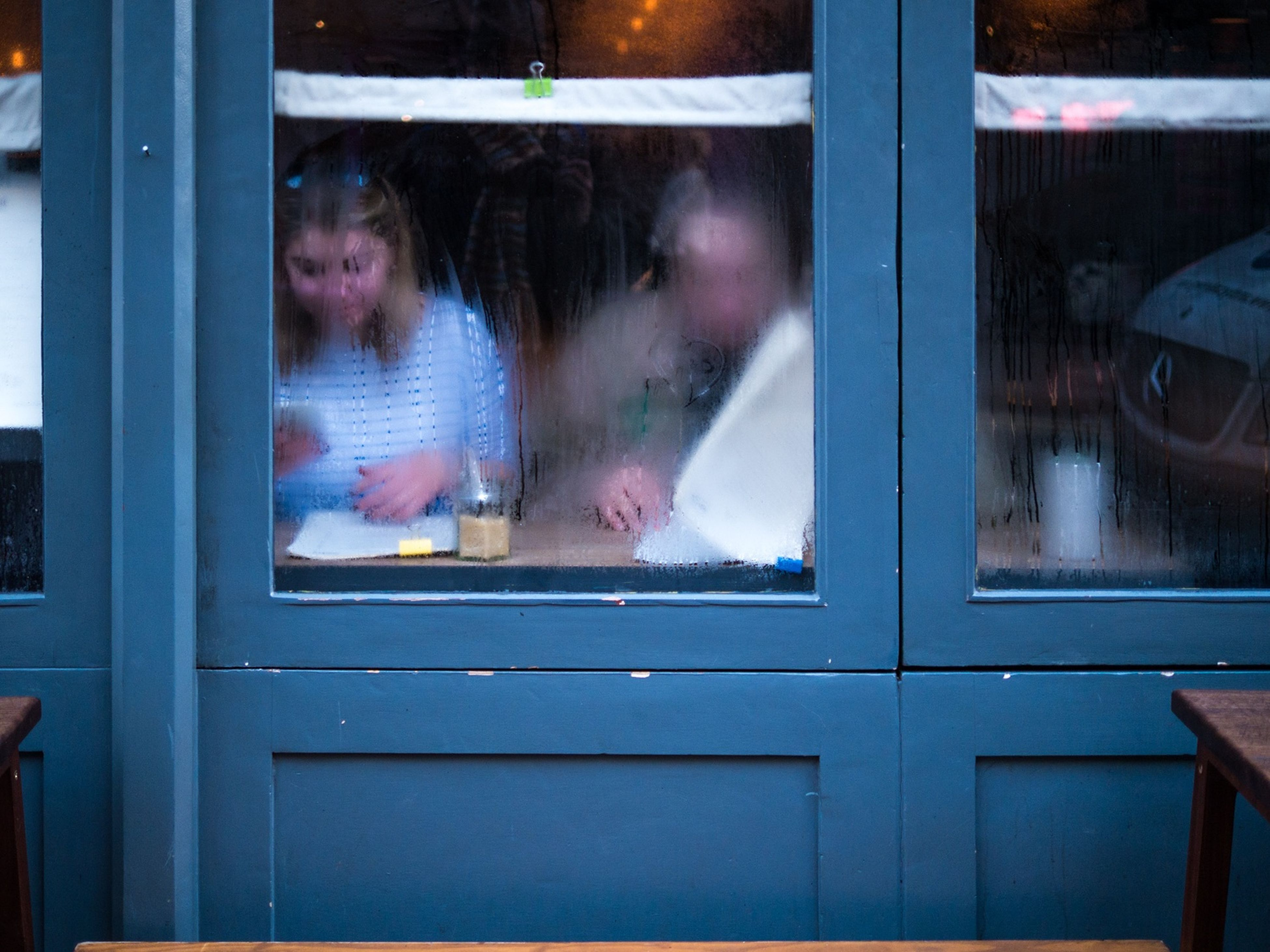 window, reflection, looking through window, two people, people, adult, real people, indoors, young women, adults only, day