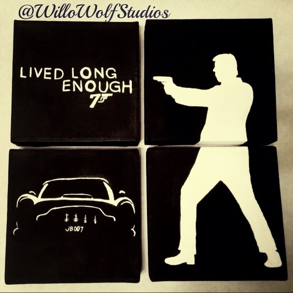 A 4 piece James Bond painting I did for my room. It consumed most of my day today but it was completely worth the time. I am very happy with the way it turned out. I found the DB5 silhouette picture in my filing cabinet and I assume that it was found onli