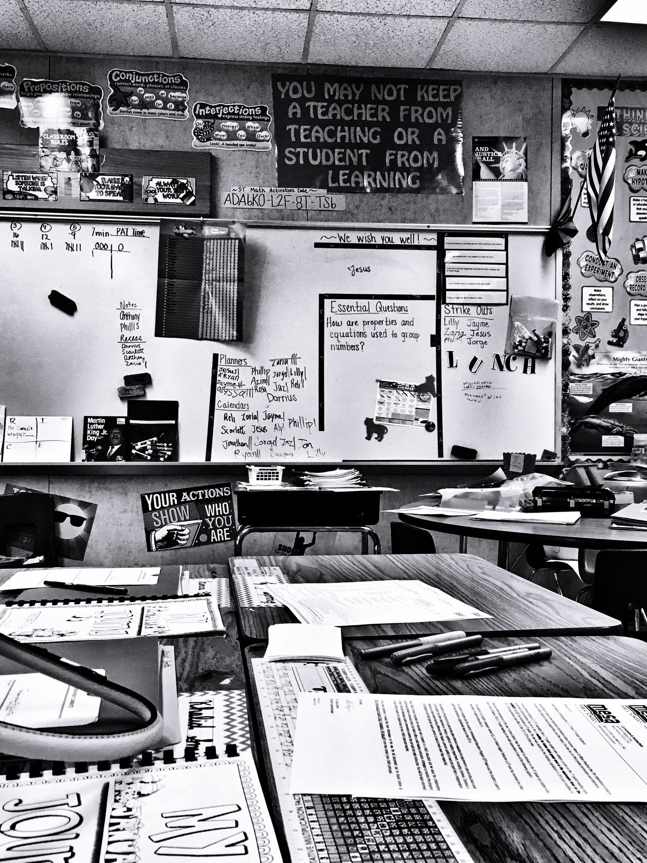 Classroom Indoors  No People Technology Built Structure Printing Press Day Classroom EyeEm Gallery Check This Out Popular Photos EyeEm Best Shots Mesa Arizona Signboard Board Information Sign Communication Black And White Photography