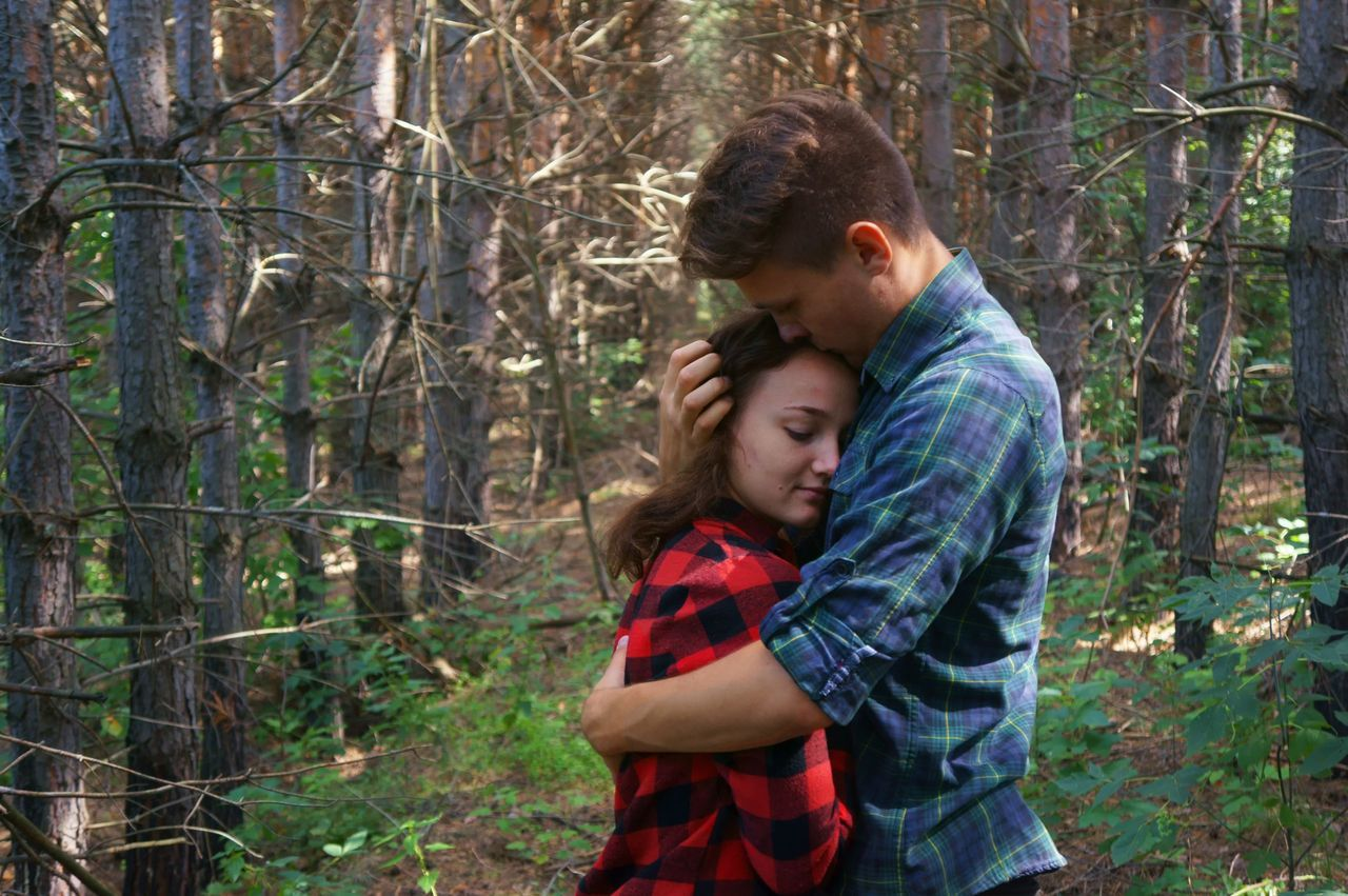 two people, forest, togetherness, love, embracing, nature, waist up, tree, bonding, affectionate, day, standing, outdoors, young women, young adult, people, adult, adults only