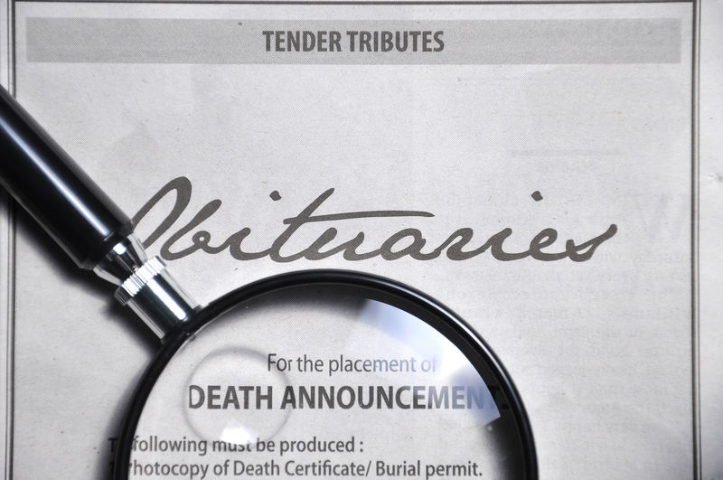Death Death Announcement Information Information Sign Newspaper Newspaper Cutting Obituaries Obituary Promotion Sale Text