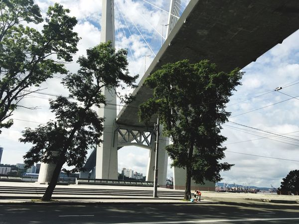 Vladivostok Strreet Bridge Clouds And Sky