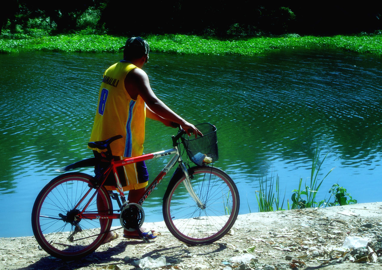 bicycle, real people, transportation, mode of transport, water, rear view, one person, day, outdoors, full length, men, land vehicle, nature, lifestyles, tree, cycling helmet, beauty in nature, mammal