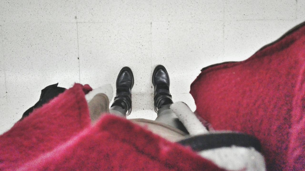 human leg, red, low section, personal perspective, human foot, shoe, human body part, one person, real people, indoors, lifestyles, close-up, men, day, one man only, people