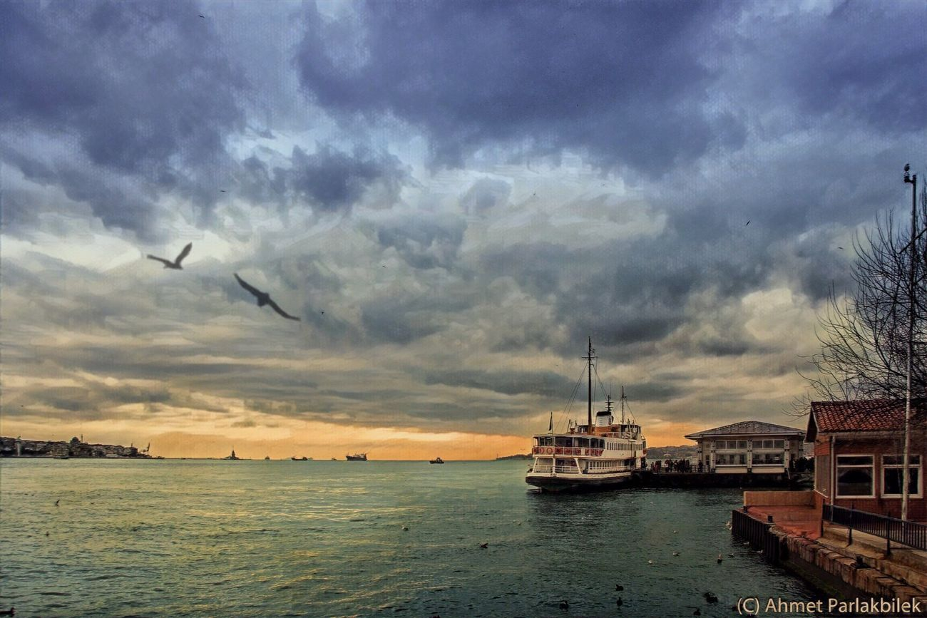 Beşiktaş Cloud - Sky Sky Outdoors Water Sea No People Nautical Vessel Nature City Scenics Sunset Beauty In Nature Architecture Day Seagulls Istanbul Bosphorus