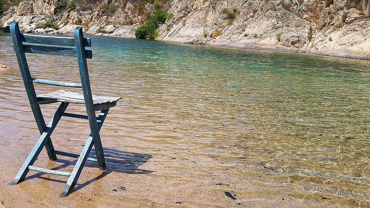 Playground Chair Chaise Blue Corse Corsica Corsica 2015 Solenzara Riviere River Riverside Quietness Zen Alone GetbetterwithAlex Vacances Vacations Freedom Nature Lover River View Nature Water Reflection Outdoors Day