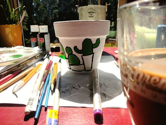 drinking coffee and painting cacti Indoors  Afternoon Sun No People Cute Paints Coffee Cup Sippin Drinkup