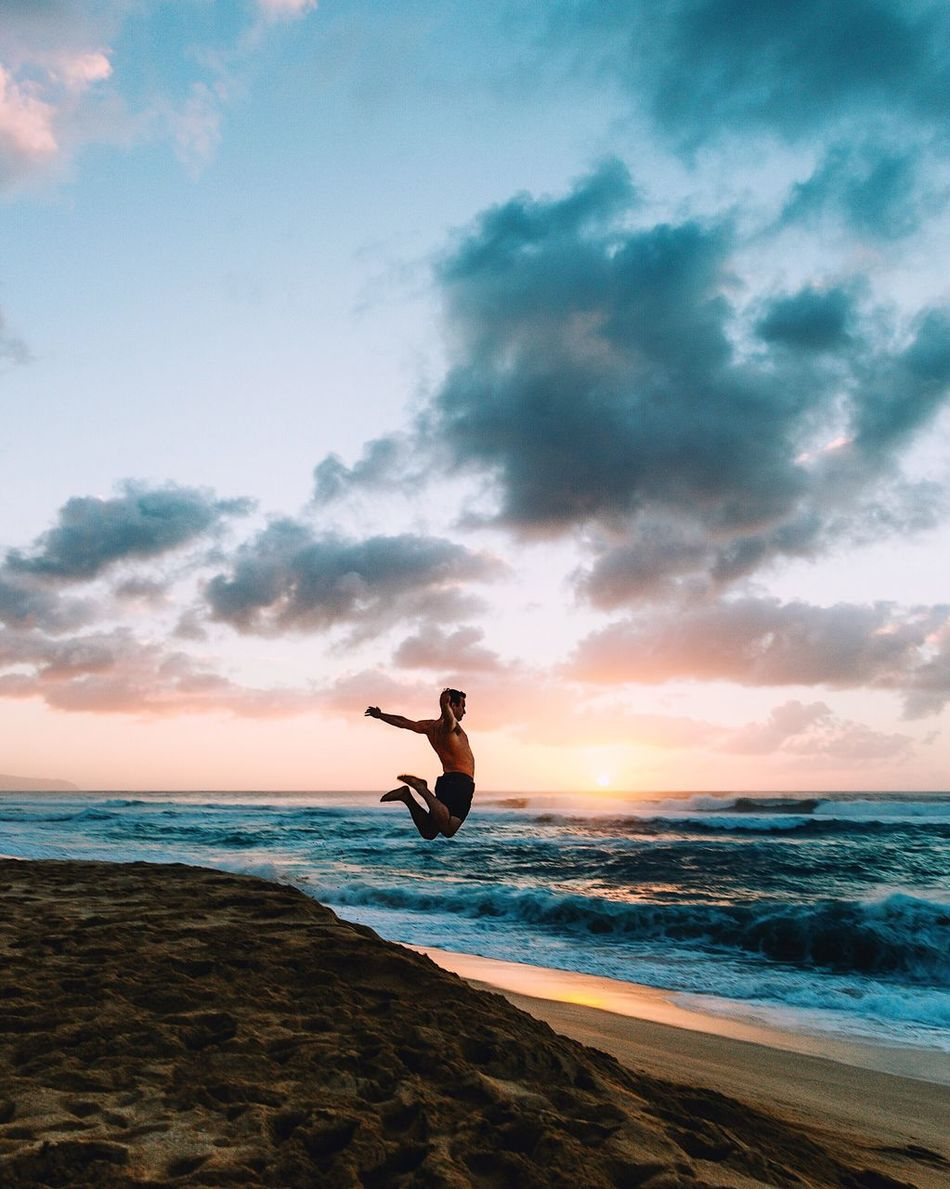 My happy place. Sea Horizon Over Water Beach One Person Water Sky Leisure Activity Cloud - Sky Nature Mid-air Scenics Sunset Full Length Beauty In Nature Tranquility Real People Lifestyles Silhouette Outdoors Men