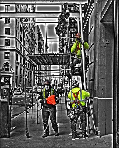 DT**** _ Men @ work on Scaffolding - 1/24/18 EyeEmNewHere Shades Of Winter Add A Little HDR And Stir Construction All Day Every Day! Helmet Malephotographerofthemonth Only Men Protective Workwear Shades Of Winter