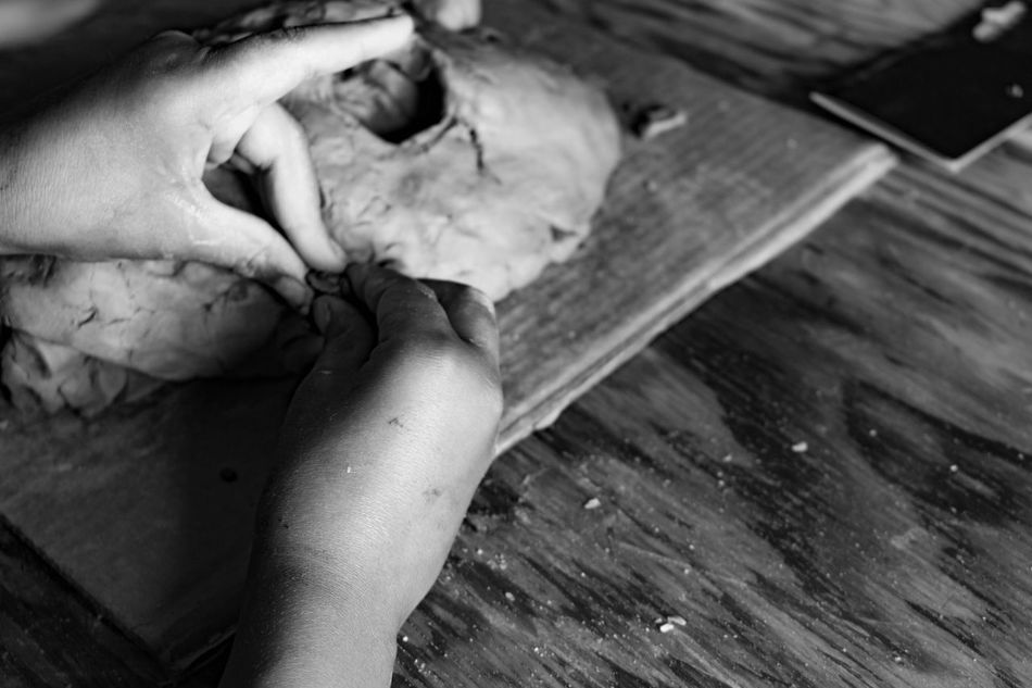 Working hands. Mask Faces Clay Work Arts And Crafts Tucson Az Diadelosmuertos Photography Funeral Chapel Skull Art Blackandwhite Photography