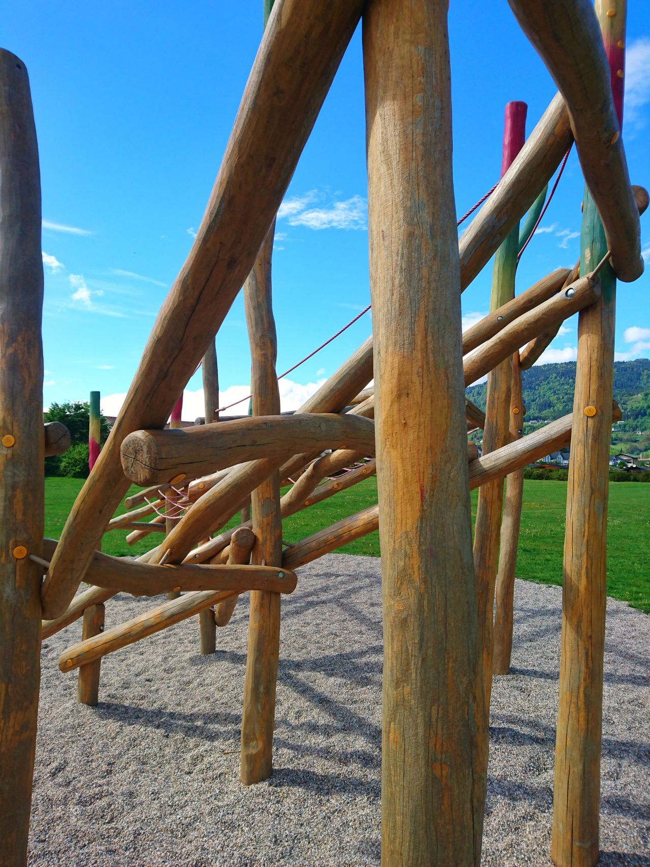 Wood - Material Outdoors Sky Day No People Playground Playground Equipment Playgrounds Architecture Wood Beam Beams Monkey Bars Climbing Frame Climbing