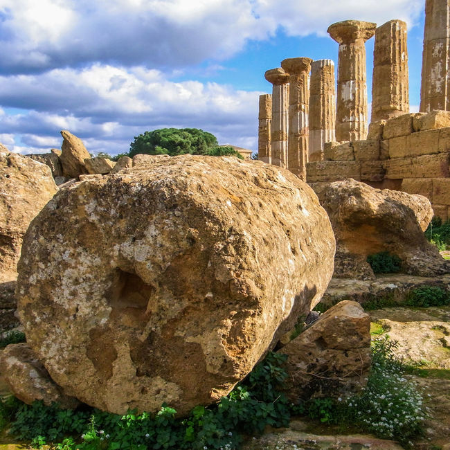 The Temple of Heracles, in Agrigento Agrigento Ancient Archeology Building Columns Greek Heracles Hercules Heritage Historic History Italy Landmark Magna Grecia Outdoors Ruins Sicily Sky Sunny Temple Temple Of Heracles Unesco UNESCO World Heritage Site Valle Dei Templi Valley Of The Temples