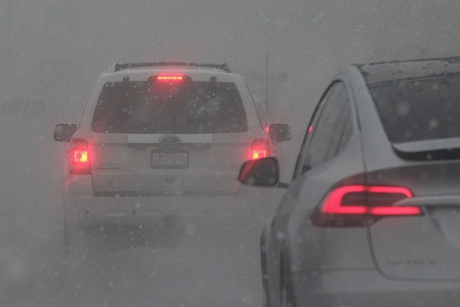 Bad Weather Brake Lights Car Driving Conditions Land Vehicle Mode Of Transport No People On The Road Red Road Street Tail Lights Transportation Vehicle