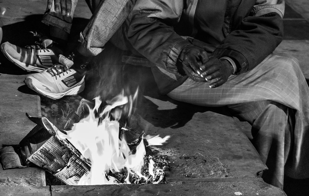 Adult Adults Only Blackandwhite Day Fire Men Monochromatic Monochrome Monochrome _ Collection Monochrome Photography Only Men Outdoors People Real People Social Issues Winter