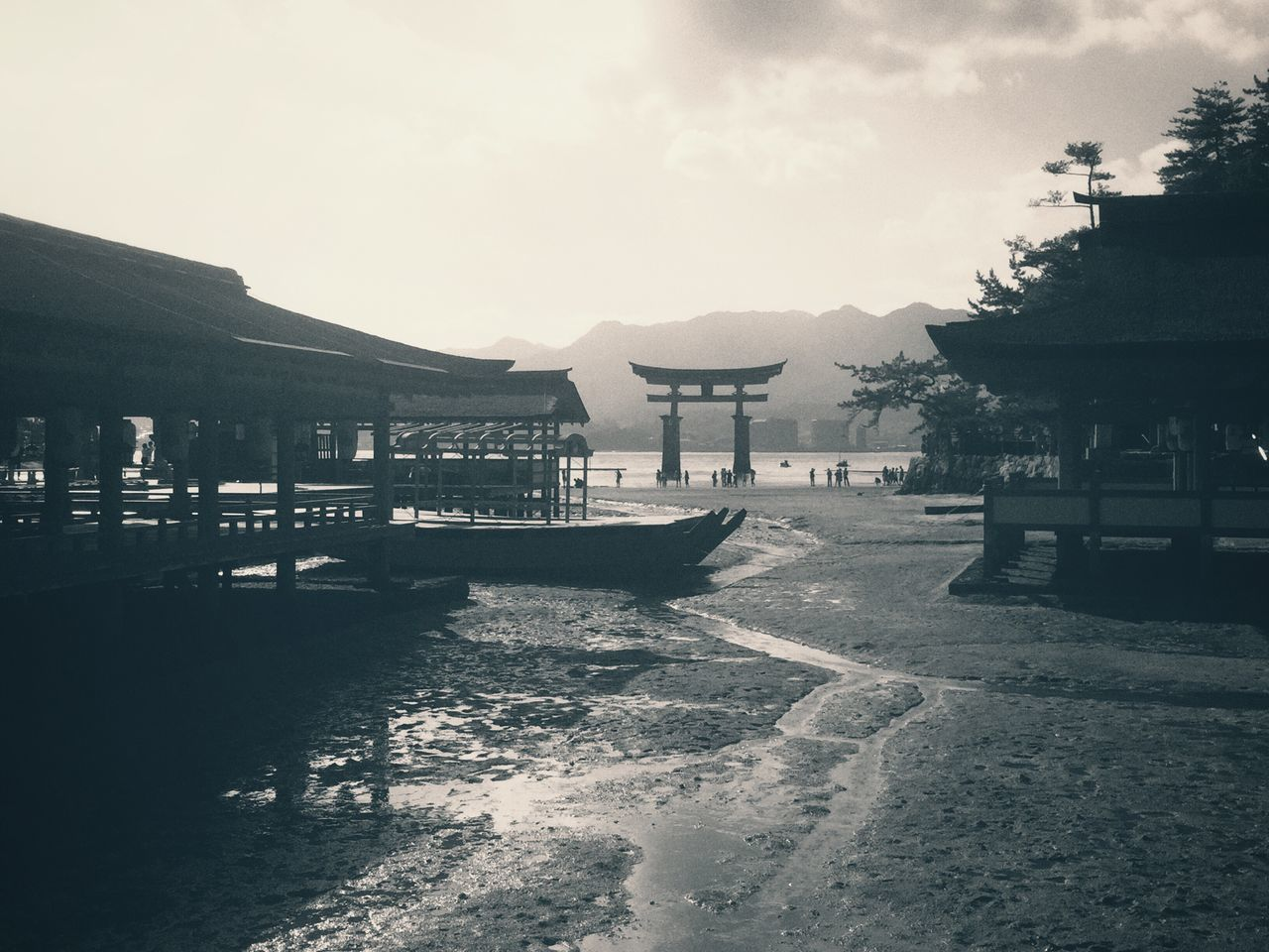 Memior of Miyajima and the Torii gate Shrine Of Japan By The Bay Low Tide Torii Gate Torii In The Sea Sacred Place Japanese Architecture Grand Architecture Historic Site Famous Landmark at Miyajima Island Itsukushima Shrine Hiroshima Hiroshima-shi,Japan