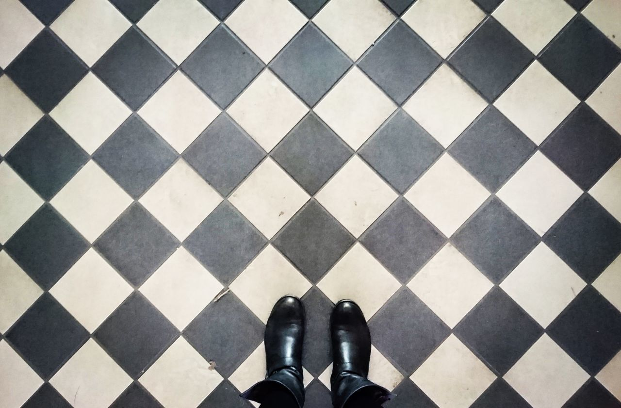 Shoe Standing Pattern Directly Above From My Perspective Floors View Flooring From Above  My Shoes Blackandwhite Tiles Textures