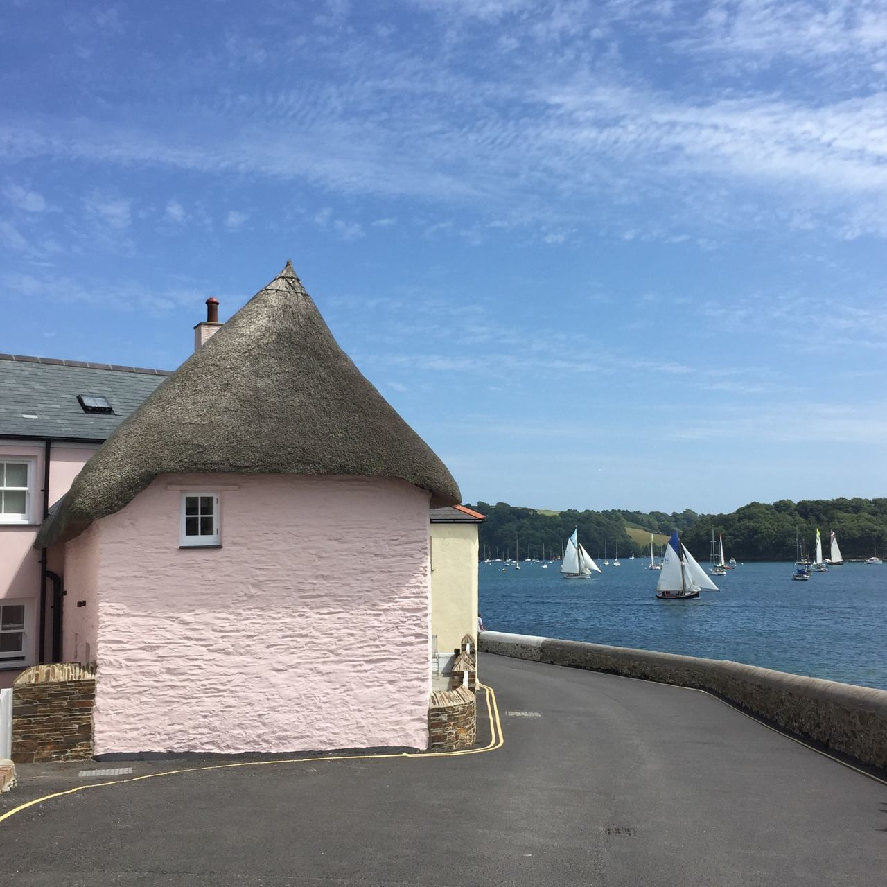 One eyed house. Cottage Cornish Cottage Cornwall Cornwall Cottage St Mawes Summer Village Cornish Village Cornwall Village Cornwall Uk Seaside Seaside Village Pink House Boats Yachts White Boats Sailing Boat Sailing