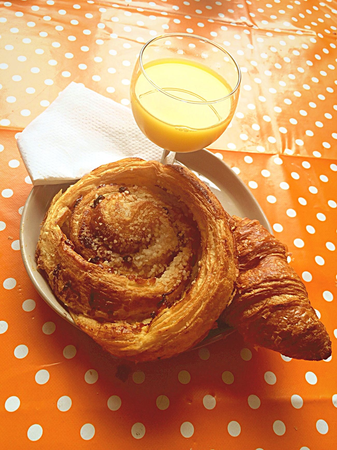 Time For Breakfast  French Croissant and Pain Aux Raisins Orange Juice  Lovely Breakfast Relaxing Relaxing In The Sun