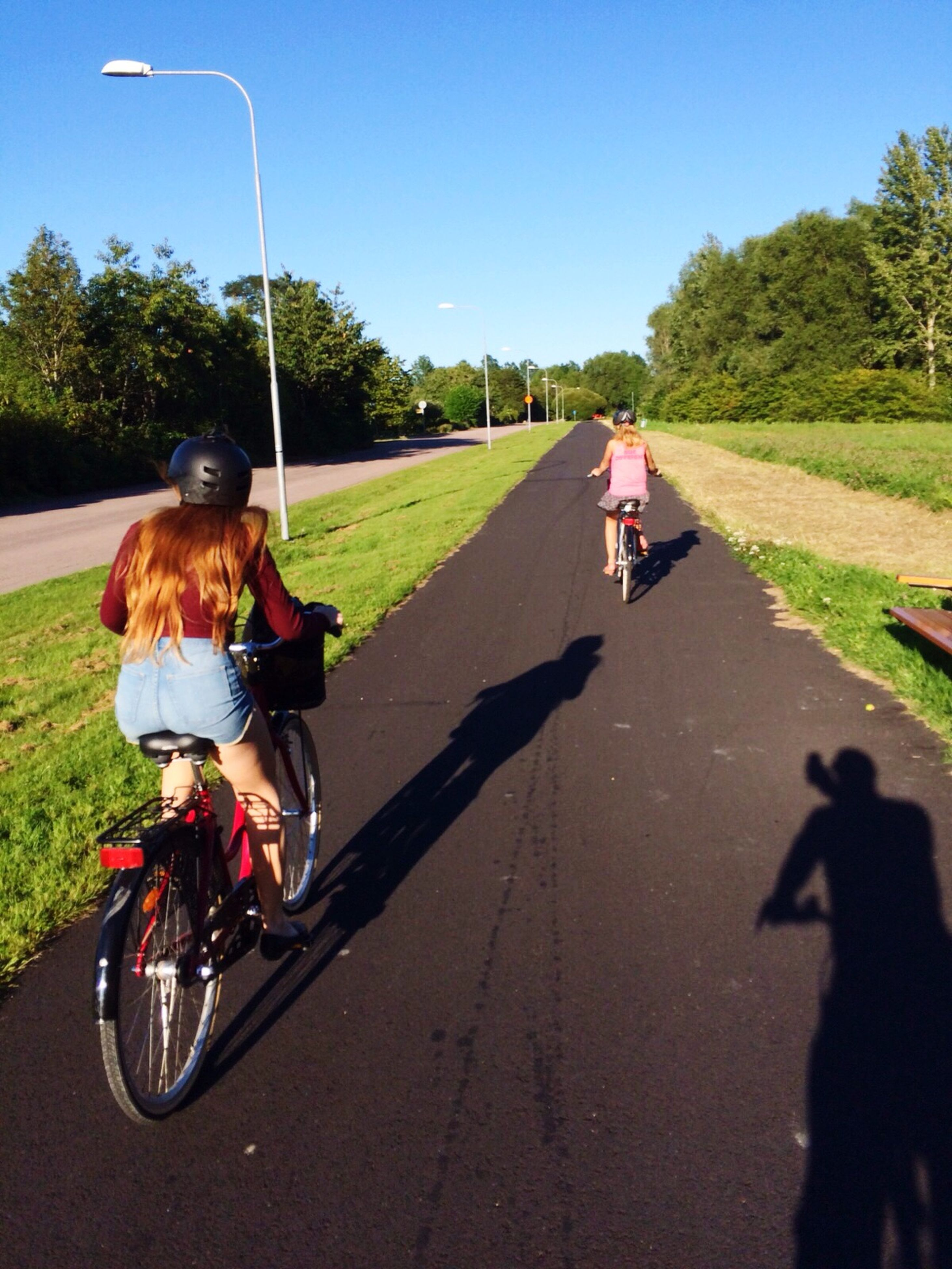 transportation, road, clear sky, land vehicle, bicycle, mode of transport, tree, lifestyles, riding, road marking, leisure activity, street, men, the way forward, car, cycling, sunlight, on the move