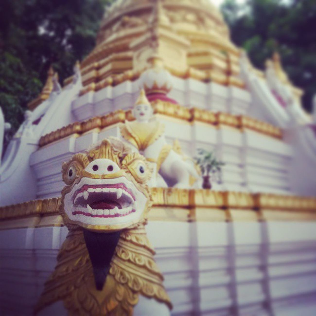 The lion said 'Good morning'. Ingersmyanmar Myanmar Mandalay Pagoda Sculpture Statue Vscomyanmar Lion Temple