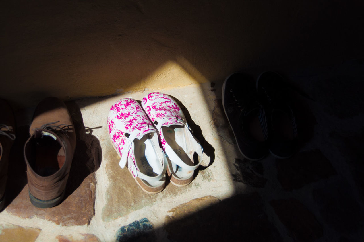 Close-up Day Design Many In A Row Multi Colored No People Pair Pink Color Shadow And Light Shoes Still Life