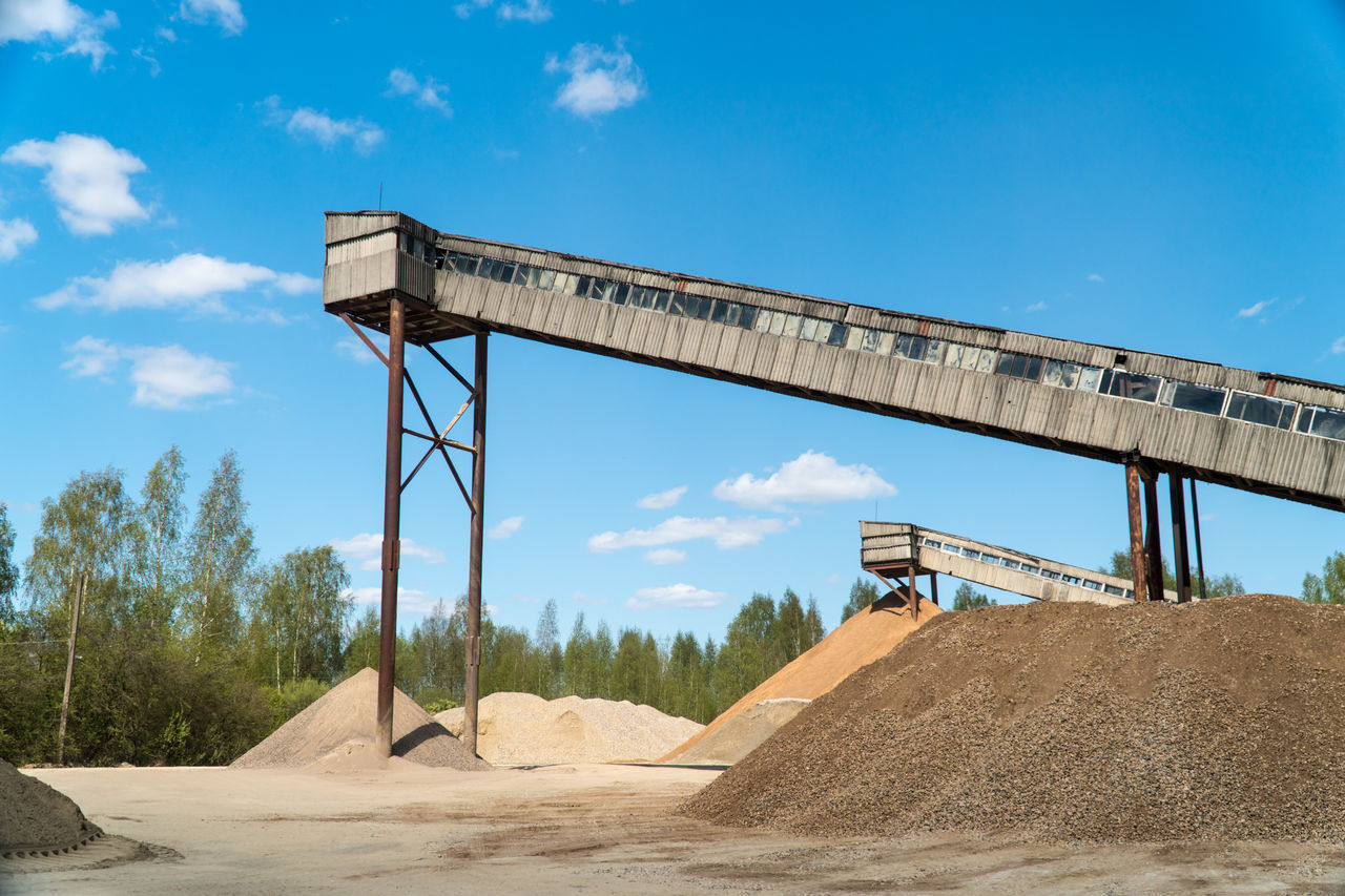 Gravel quarry Abandoned Architecture Built Structure Clear Day Construction Constuction Zone Conveyor  Digger Empty Equipment Factory Falling Falling Grit Gravel Grit Heavy Industry Industry Machinery Manufacture Outdoors Quarry Quarry Rock Tower Work Worker