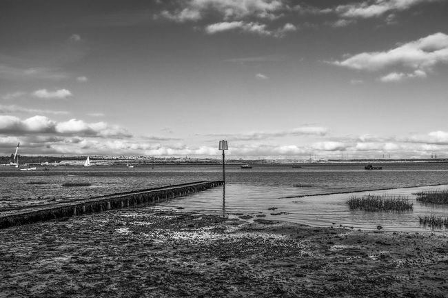Medway Black & White Beach Cloud Cloudy Connection Fujifilm Fujifilm_xseries Horizon Over Water Jetty Leading Medway River Narrow Outdoors Pier Scenics Sky Tranquil Scene Tranquility Water X100